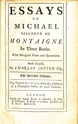 michel montaigne essays sparknotes Looking for the plot summary of the essays of montaigne' complete whether you need an overview of the essays of montaigne' complete or a detailed.