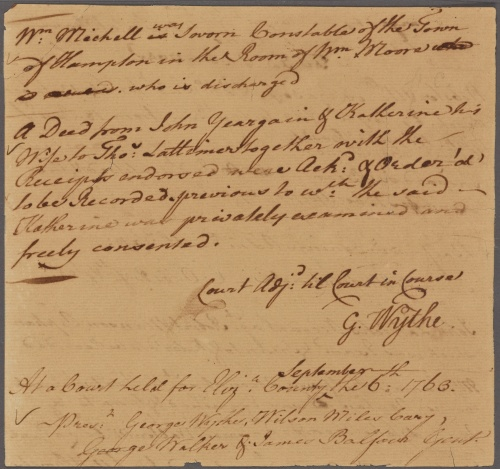 Elizabeth City County Court Records, 6 September 1763 - Wythepedia