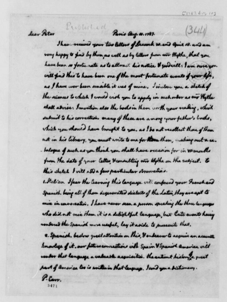 essays written by thomas jefferson